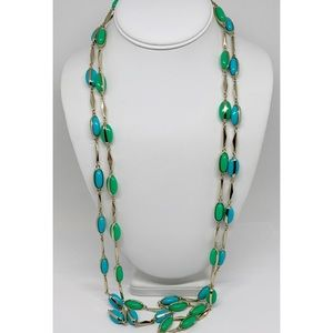 J. Crew Lot of 2 Blue & Green Beaded Necklaces
